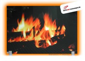 Infrarot-Glasheizung mit aufgedrucktem Bild eines Kaminfeuers